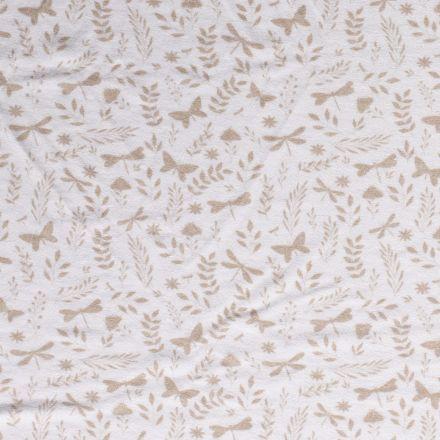 Tissu Jersey Velours Eponge Libellules papillons et feuilles sur fond Blanc - Par 10 cm