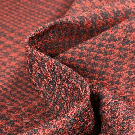 Tissu Bengaline carreaux brique sur fond Noir - Par 10 cm