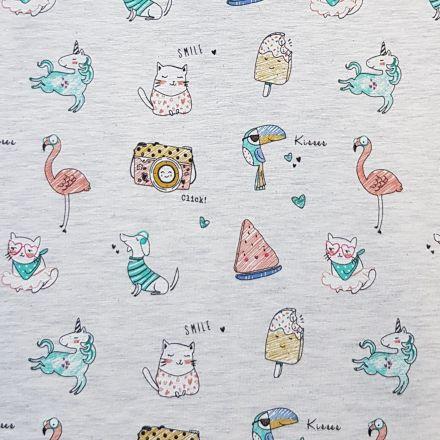 Tissu Jersey Coton Animaux, glaces et appareils photos sur fond Ecru chiné - Par 10 cm