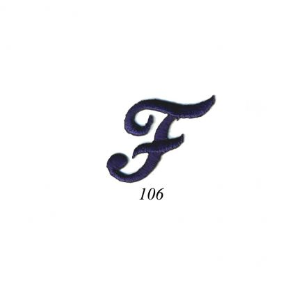"Ecusson Thermocollant Lettre Calligraphie Anglaise ""F"" Marine"