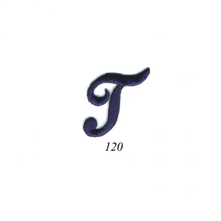 "Ecusson Thermocollant Lettre Calligraphie Anglaise ""T"" Marine"