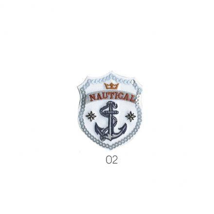 Ecusson Thermocollant Ancre Marine bleu/blanc