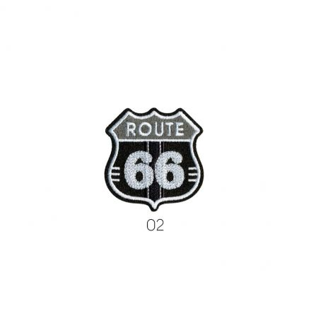 Ecusson Thermocollant Route 66 Blanc/Gris