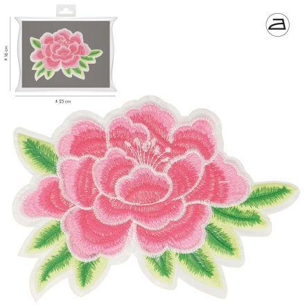 Ecusson Thermocollant Fleur Rose Brodée XL