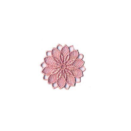 Ecusson Thermocollant fleur effet dentelle rose