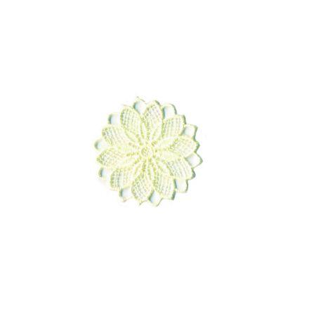 Ecusson Thermocollant fleur effet dentelle ecrue