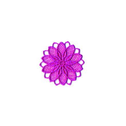 Ecusson Thermocollant fleur effet dentelle fushia