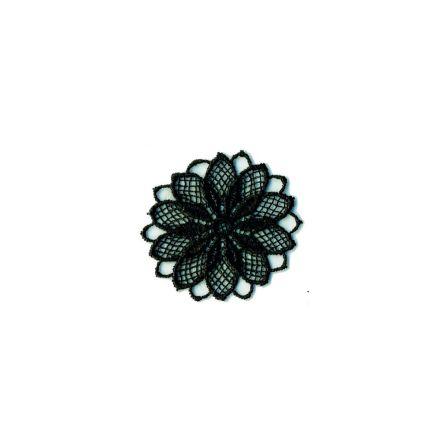 Ecusson Thermocollant Fleur Effet Dentelle Noire