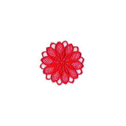 Ecusson Thermocollant Fleur Effet Dentelle Rouge