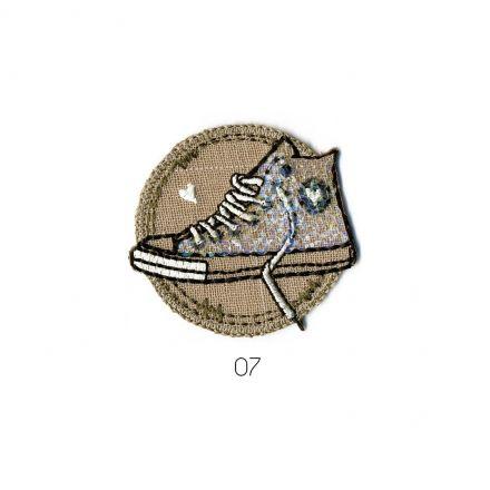 Ecusson Thermocollant Basket à Paillette blanc/naturel