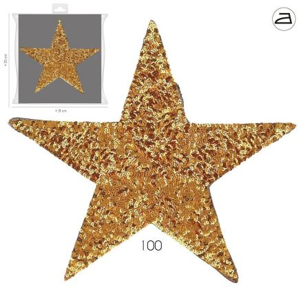 Ecusson Thermocollant Patch Etoile Sequins Or