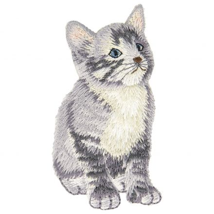 Ecusson Thermocollant Chat Gris
