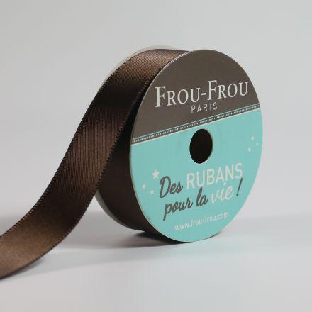 Bobinette Ruban Satin double face Frou-Frou Chocolat - 16 mm x 6 mètres