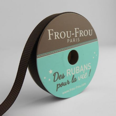 Bobinette Ruban Gros grain Frou-Frou Chocolat - 9 mm x 6 mètres