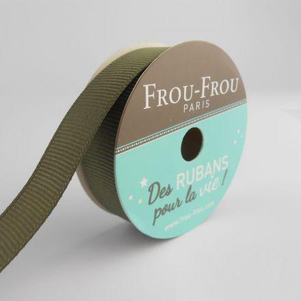 Bobinette Ruban Gros grain Frou-Frou Kaki - 16 mm x 6 mètres