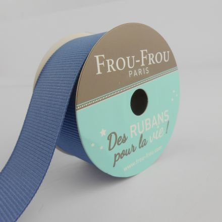 Bobinette Ruban Gros grain Frou-Frou Ardoise cendre - 25 mm x 5 mètres