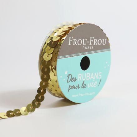 Bobinette Ruban Sequins Frou-Frou Dore - 6 mm x 5 mètres