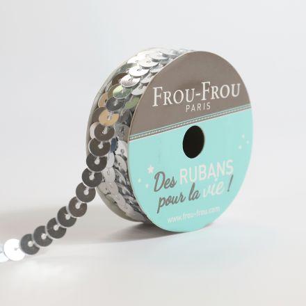 Bobinette Ruban Sequins Frou-Frou Argent - 6 mm x 5 mètres