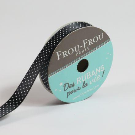 Ruban Satin pois Frou-Frou Noir de jais - 9 mm x 5 mètres