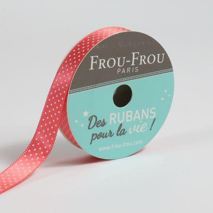 Ruban Satin pois Frou-Frou Corail - 9 mm x 5 mètres