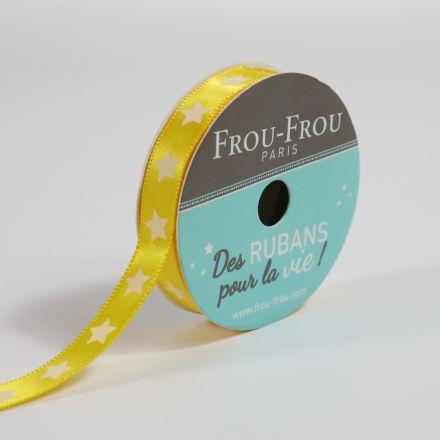 Ruban Satin étoile Frou-Frou Tournesol - 9 mm x 5 mètres