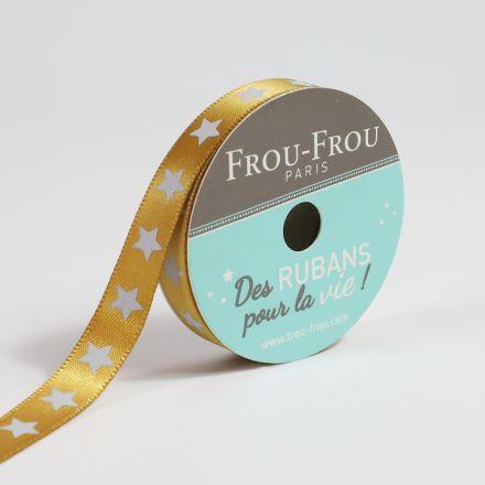Ruban Satin étoile Frou-Frou Poussiere d'or - 9 mm x 5 mètres