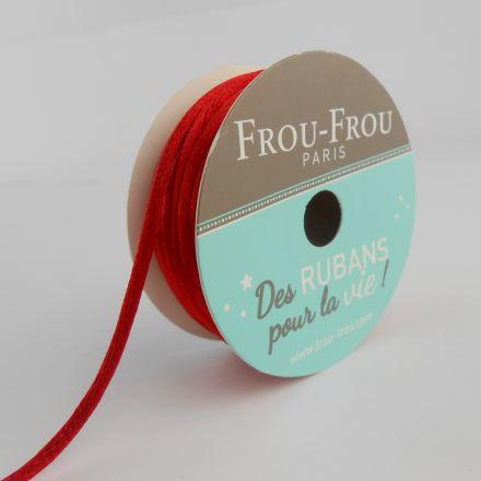 Bobinette Ruban Cordon de satin Frou-Frou Coquelicot - 2 mm x 10 mètres