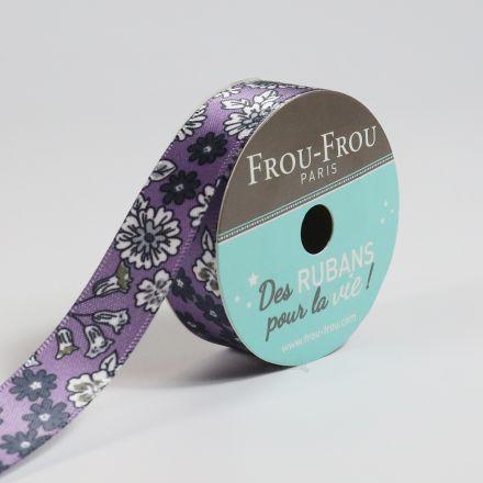 Bobinette Ruban Satin Fleuri Frou-Frou Violet sage - 16 mm x 5 mètres