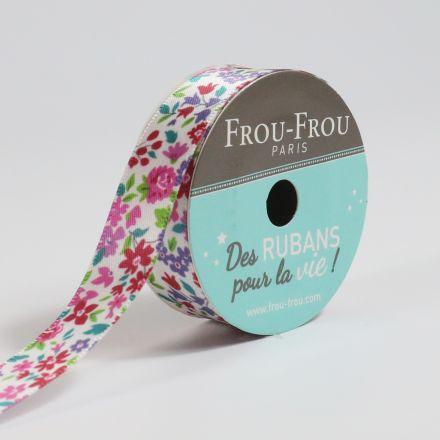 Bobinette Ruban Satin Fleuri Frou-Frou Ecru glamour - 16 mm x 5 mètres