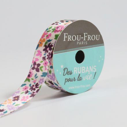 Bobinette Ruban Satin Fleuri Frou-Frou Rubis éclatant - 16 mm x 5 mètres