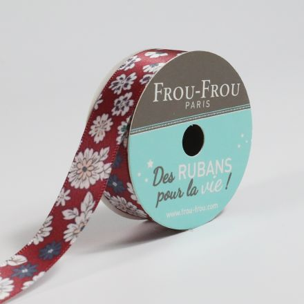 Bobinette Ruban Satin Fleuri Frou-Frou Bordeaux glamour - 16 mm x 5 mètres