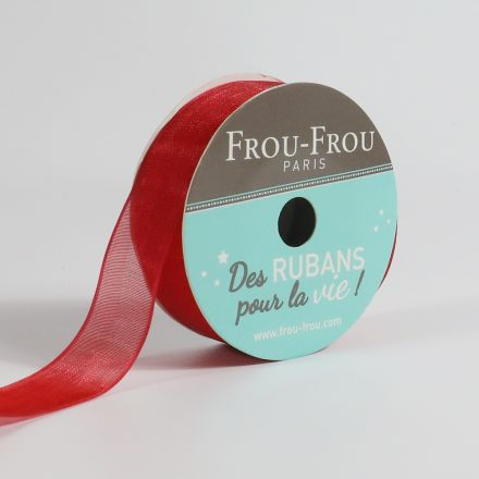 Bobinette Ruban Organza Frou-Frou Coquelicot - 16 mm x 8 mètres