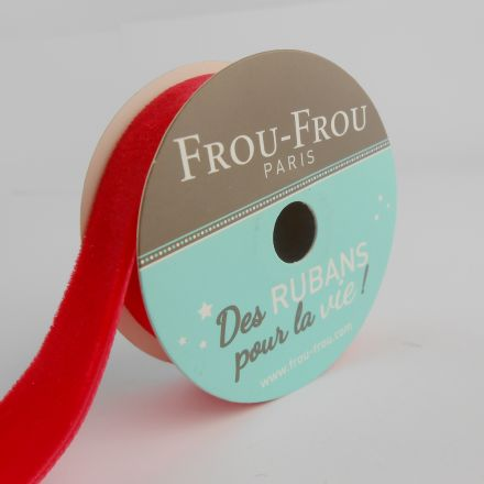 Bobinette Ruban Velours uni Frou-Frou Coquelicot - 16 mm x 1,5 mètres