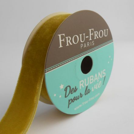 Bobinette Ruban Velours uni Frou-Frou Poussière d'or - 16 mm x 1,5 mètres