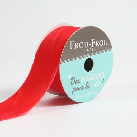 Bobinette Ruban Velours uni Frou-Frou Coquelicot - 25 mm x 1,5 mètres