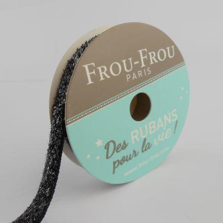 Bobinette Ruban Velours Paillettes Frou-Frou Noir de jais - 9 mm x 2 mètres
