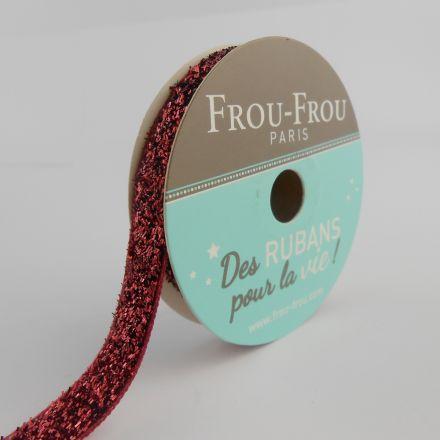 Bobinette Ruban Velours Paillettes Frou-Frou Rubis éclatant - 9 mm x 2 mètres