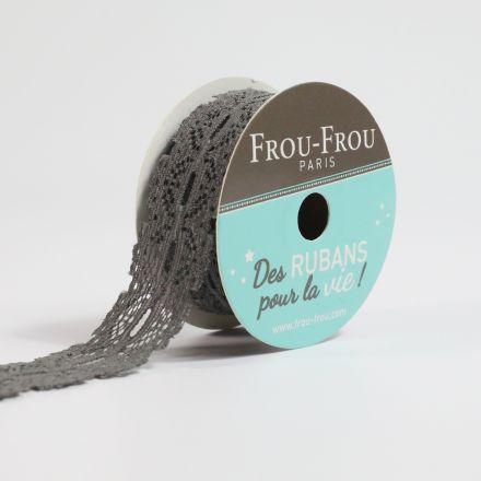 Bobinette Ruban Dentelle Frou-Frou Ciel d'orage - 22 mm x 4 mètres