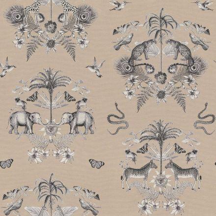 Tissu Jacquard Double face Premium Animaux de la jungle et feuilles sur fond Beige - Par 10 cm