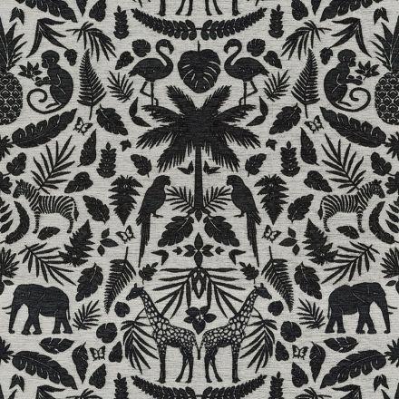 Tissu Jacquard Chenille Deluxe Animaux de la jungle et feuilles noir sur fond Blanc cassé - Par 10 cm