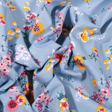 Tissu Coton imprimé Bouquets de fleurs sur fond bleu clair - Par 10 cm
