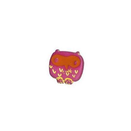 Bouton Hiboux Polyester Rose et Orange