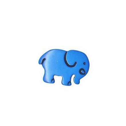 Bouton Eléphant Polyester Bleu