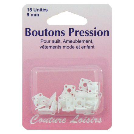 Boutons pression 9 mm nylon blanc x15