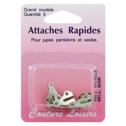 Agrafes nickelées pour pantalons et jupes. Taille : Large x3