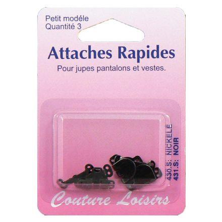 Agrafes noires pour pantalons et jupes. Taille : Small x3