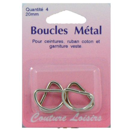 Boucles métal forme demi cercle de 20 mm x4