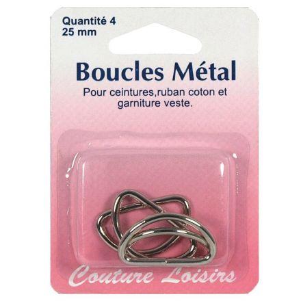 Boucles métal forme demi cercle de 25 mm x4