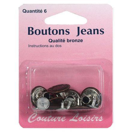 Boutons jeans couleur bronze x6