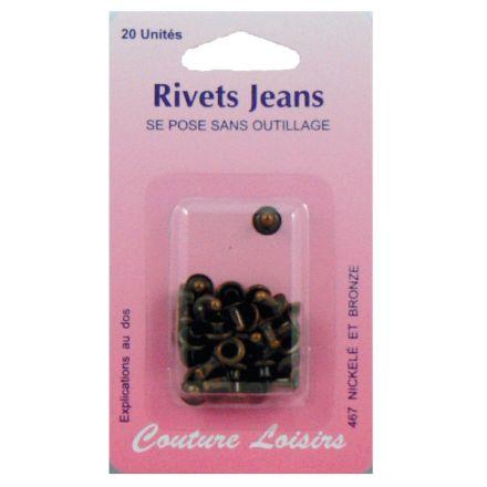 Rivets jeans couleur bronze x20